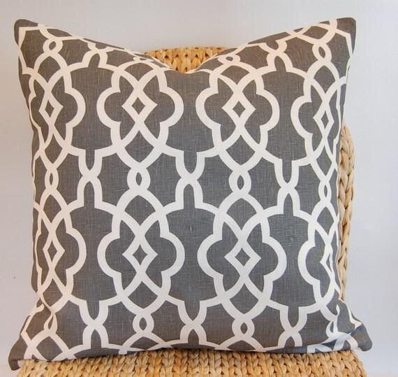 Designer Schumacher Summer Palace Fret  Pillow Cover / Smoke Gray Grey/  Linen  / 18 X 18 / Throw Pillow
