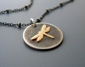 Dragonfly Necklace - 14k Gold and Silver