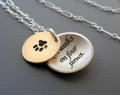 RESERVED for Cheryl: Paw Print/ Love Walks Necklace - 14k Gold and Silver