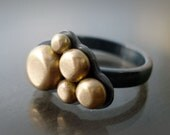 RESERVED for Suzanne: Pebble Ring - 14k Gold and Sterling Silver - OOAK