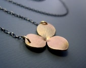 14k Gold Hydrangea Blossom Necklace with Sterling Silver Chain