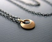 Tiny 14k Gold Pendant - Mixed Metal Necklace - Sterling Silver Chain