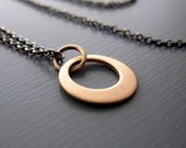 Small Gold Loop - 14k Gold Pendant - Sterling Silver Chain