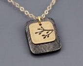 Tiny Branch Necklace in 14k Gold and Sterling Silver