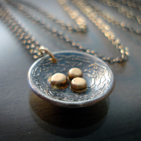 Nest Necklace -14k gold and silver - nature jewelry