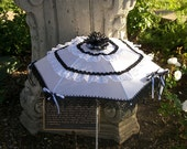 Wedding Parasols steampunk cosplay goth lolita black and white with ribbons