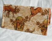 Checkbook Cover Deer Camp Blaze Orange Hunter w/ Matching Bookmark