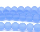 """50 Pcs Lightblue Round Frosted Glass Beads 6mm Dia. 11-3/4""""(30cm)"""