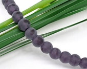 50 pcs Dark Purple Round Frosted Glass Beads 6mm Dia 11258