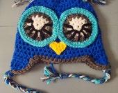 Baby Boy Crochet Owl Animal Beanie Hat SIZE NEWBORN-12 MONTHS