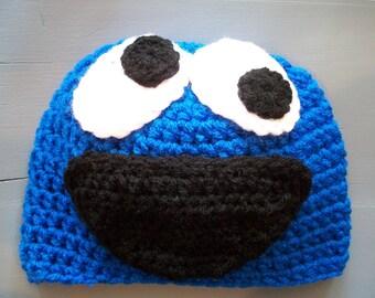 Crochet Cookie Monster Children Baby Beanie Hat Size Newborn-Adult
