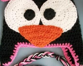Baby Girl, Infant, Toddler Crochet Animal Penguin Beanie/Hat Size Newborn-Adult