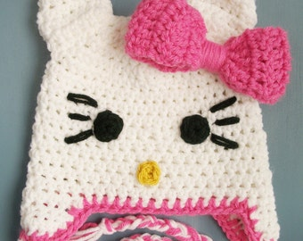 Baby Girl Crochet Hello Kitty Beanie Hat SIZE Newborn-Adult