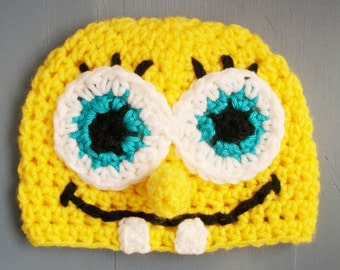 Sponge Bob Square Pants Cartoon Beanie 3-6 Months Ready To Ship