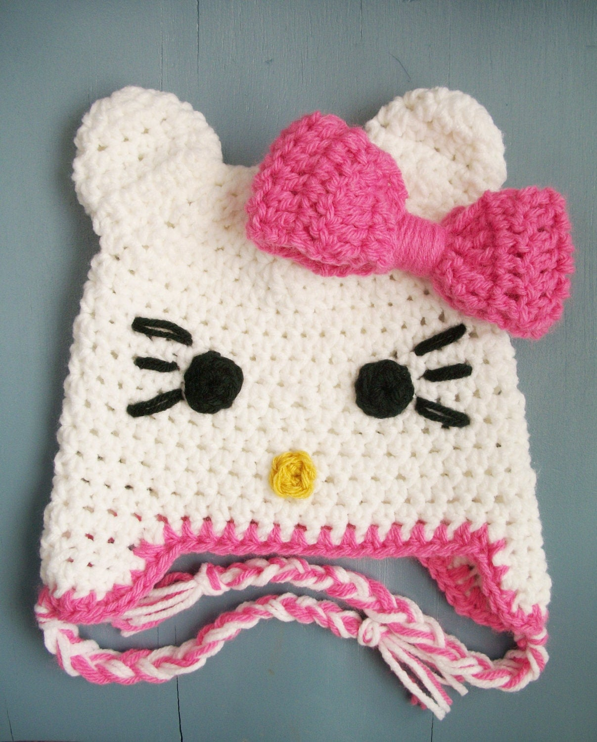 Baby Girl Crochet Hello Kitty Beanie Hat SIZE by wadamska on Etsy