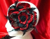 Beautiful and Delicate Red Leopard Layered Satin Rose with Burnt Edges and a Rhinestone Center - Headband and/or Brooch Pin