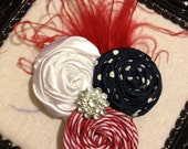Ready to Ship - Red / White / Blue with Ostrich Feathers / Fourth of July / American - Hair Clip and Brooch Pin