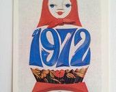 1972 Soviet pocket calendar with Matryoshka / Babushka