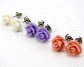 Victorian Garden Earring Trio  Lavender Purple, Peach Pink & Cream White Rose Cabochon Titanium Post Stud Earrings  Hypoallergenic Jewelry