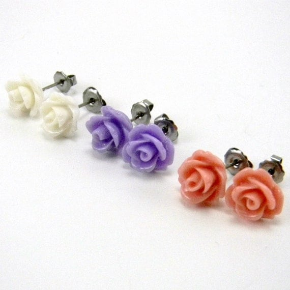 Victorian Garden Earring Trio  Lavender Purple, Peach Pink & Cream White Rose Cabochon Titanium Post Stud Earrings  Hypoallergenic Jewelry