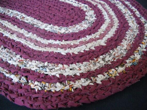 """CLEARANCE SALE- crochet rag rug oval """"Hearth & Home"""" (21"""" X 32"""")"""