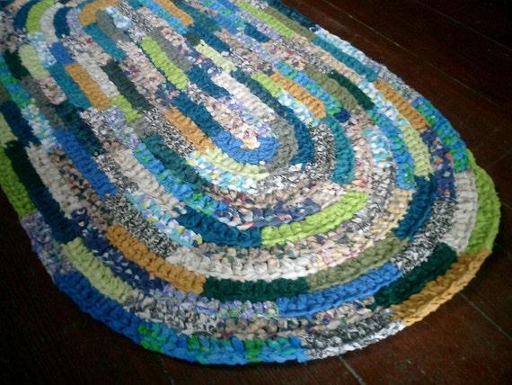 "crochet rag rug oval ""Nature's Colors"" (21"" x 38"")"
