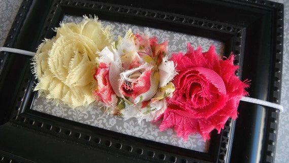 FREE SHIPPING - Shabby Chic Newborn Headband-Baby Headband-Toddler-Infant-Adult-Photo Prop- Headband- Shabby Flowers Headband on Elastic