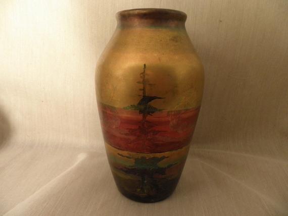 Weller LaSa Landscape Art Pottery Vase - Free Shipping.