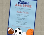 Baby Shower All Star Invite, Sports themed, Future All star, digital, printable file