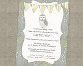 owl banner baby shower invitation, gender neutral shower invitation, digital, printable file