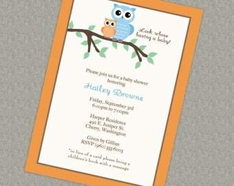 Owl baby shower invitation, gender neutral printable, digital file