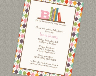 Book Baby Shower Invitation, in lieu of a card please bring a children's book with a message, digital file