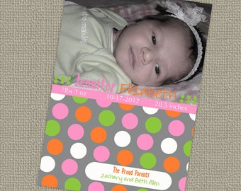 baby girl birth announcement, colorful name, digital printable file