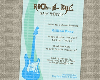 Rock a bye, baby boy shower invitation with guitar printable, digital file
