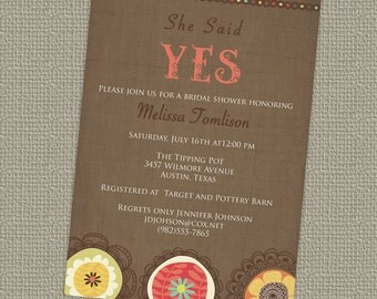 YES Bridal Shower Invitation, floral vintage bridal shower invite, digital