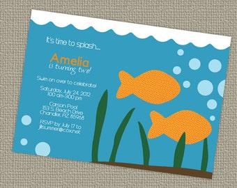 Goldfish birthday invitation, gender neutral, printable, digital file