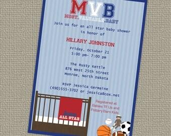 Sports Baby Shower, All Star Invite, Sports themed, MVB, digital, printable file