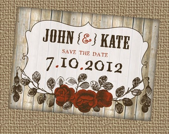 Vintage looking, Save the date with flowers, printable, digital file