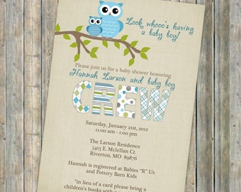 owl baby shower invitations, baby shower invitation with owls, Digital, Printable file