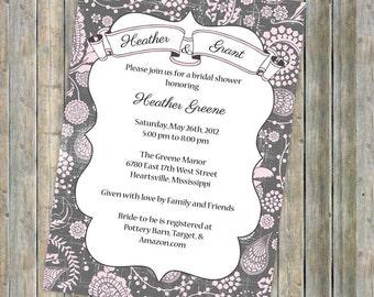 vintage ribbon banner, wedding or bridal shower invitations, digital, printable jpeg
