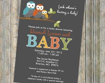 baby shower invitation, mod baby shower invitation with owls, Digital, Printable file gender neutral