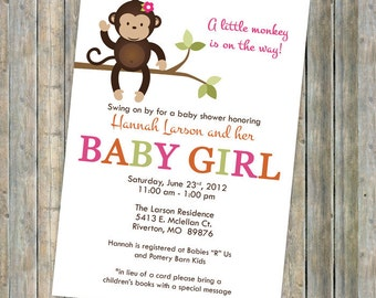 monkey baby shower invitations, baby shower invitation with monkey, Digital, Printable file