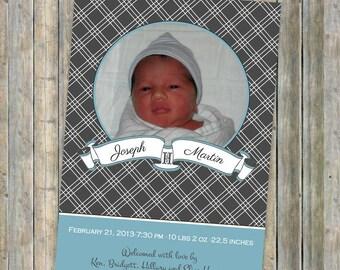 Vintage Banner Baby Boy Birth Announcement, printable, digital file