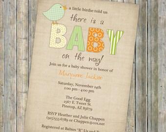 bird baby shower invitations, little bird, gender neutral, Digital, Printable file