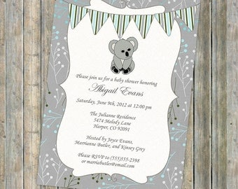koala bear baby shower invitation with banner, shower invitation, digital, printable file