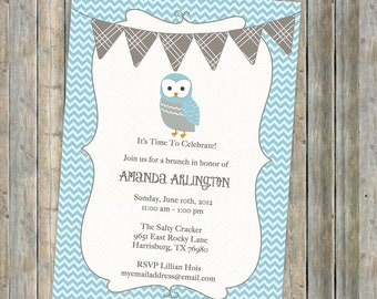 owl baby boy  shower invitation, banner shower invitation, blue and gray, Digital, Printable file