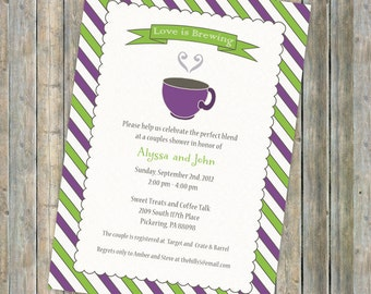 Coffee Bridal Shower invitation, Tea bridal shower invitation, Love is brewing couples shower, Digital Printable file