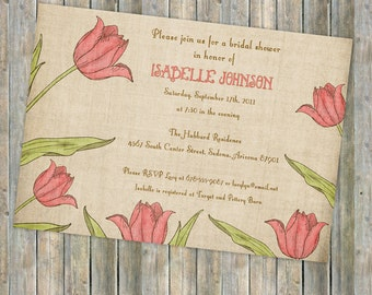 pink tulips bridal shower invitations, digital, printable file
