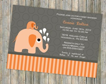 orange elephant baby shower invitation, gender neutral elephants, digital, printable file