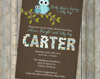 baby boy shower invitations, shower invitation with owls, Digital, Printable file (Brown, Green, and Aqua Blue)